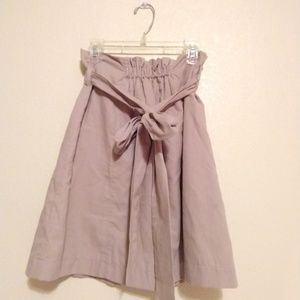 Love 21 F21 Beige Aline Skirt Bow Tie Stretch